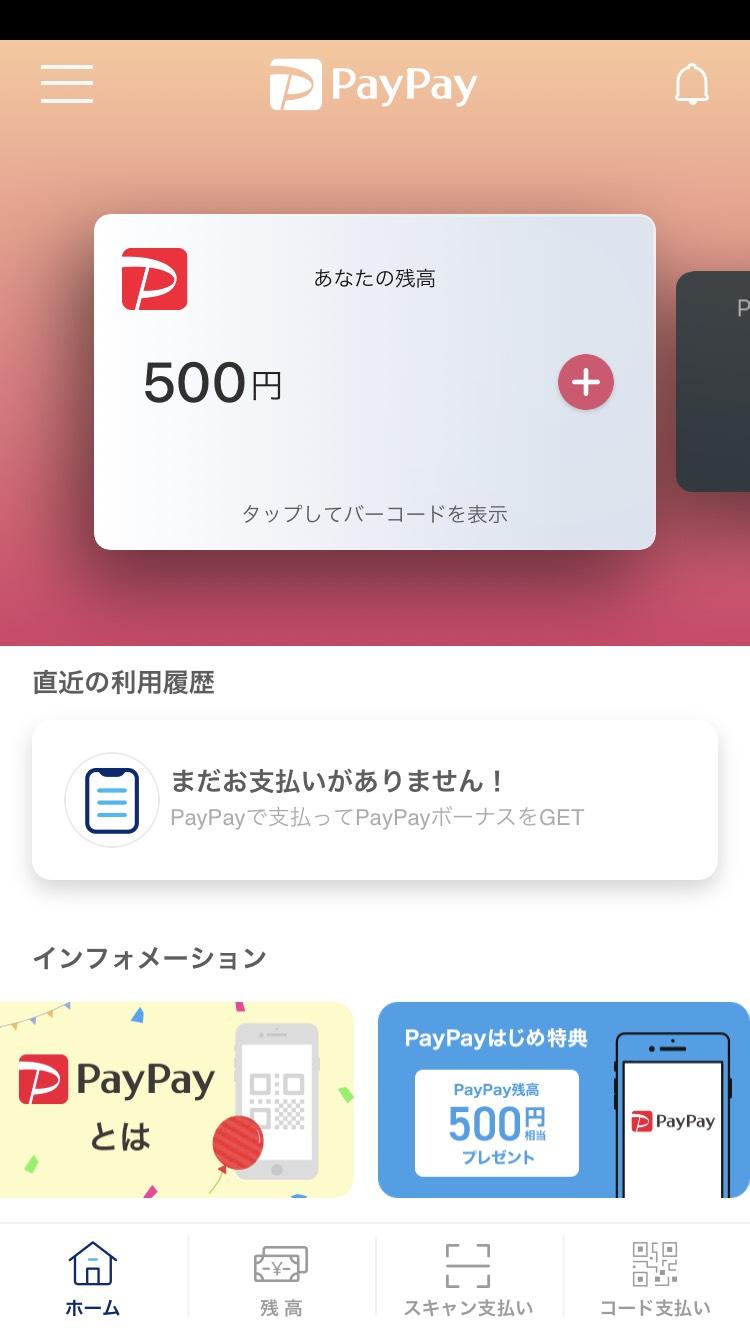 PayPay西友新規登録画面